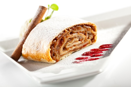 Apple Strudel Served with Ice Cream and Fresh Mint photo