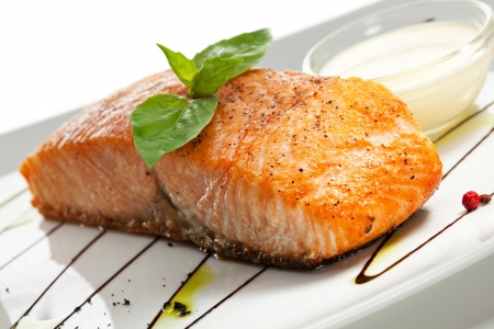Salmon Steak with Risotto Stock Photo - 22046700