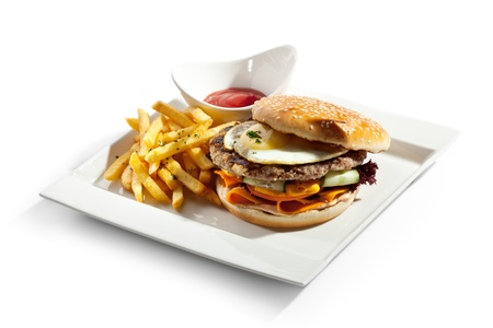 Big Burger with French Fries and Sauce photo