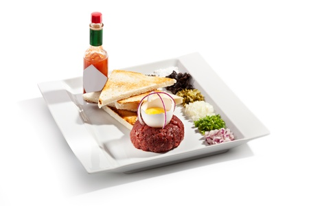 tabasco: Beef Tartare with Eggs Yolk, Crispy Bread and Spicy Sauce