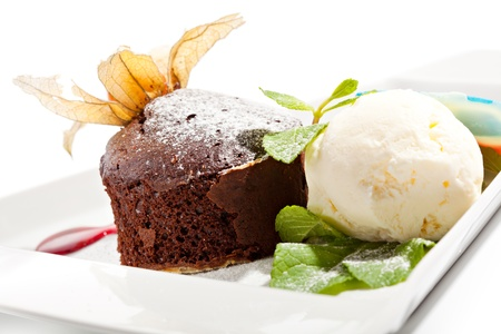 cream pie: Dessert - Chocolate Cake with Berries Sauce and Ice Cream