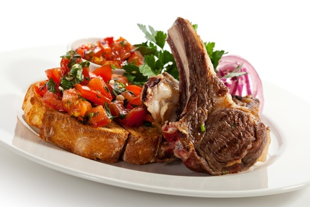 Grilled Lamb Chop with Tomatoes photo