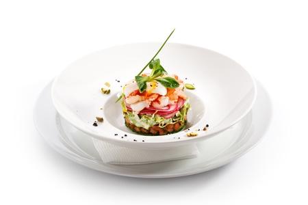 huevos de codorniz: Ensalada de pepino, tomate, gambas y huevos de codorniz