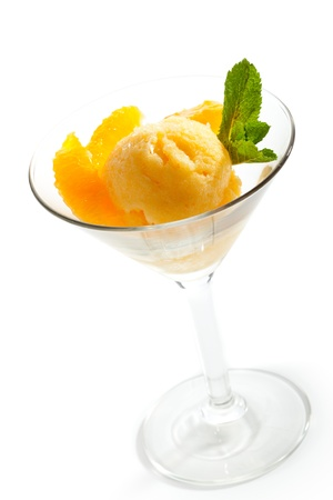 Orange Sorbet with Mint