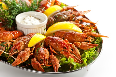 Boiled Crayfish with Lemon and Tartar Sauce photo