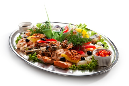 fruit platter: Seafood - Prawns, Squids, Scallops, Mussels, Fillet of Salmon, Crawfish, Greens and Lemon
