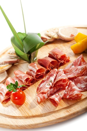 cold cuts: Sausages Wooden Plate