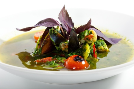 Fish Minestrone with Spinach photo