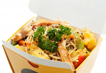 take away: Chinese Noodle with Chicken, Vegetables and Pineapple