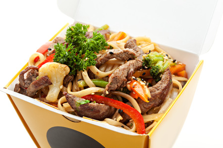 Chinese Noodle with Beef and Vegetables photo