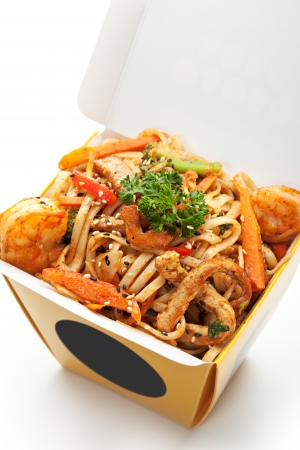 Chinese Noodle with Pork, Shrimps and Vegetables photo