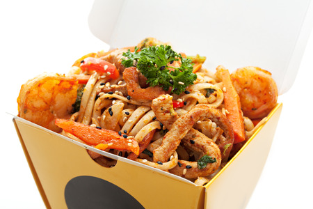 chinese noodle: Chinese Noodle with Pork, Shrimps and Vegetables Stock Photo