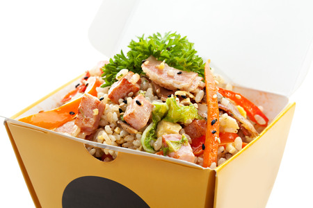 Chinese Fried Rice with Ham, Bacon, Eggs and Vegetables photo