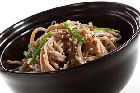 Buckwheat Noodles in Black Bowl photo