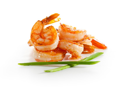 aphrodisiac: Shrimps Isolated over White