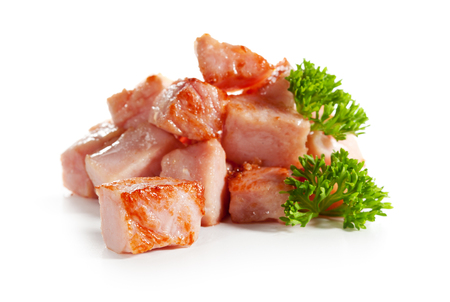 Fried Sliced Ham Isolated over White photo