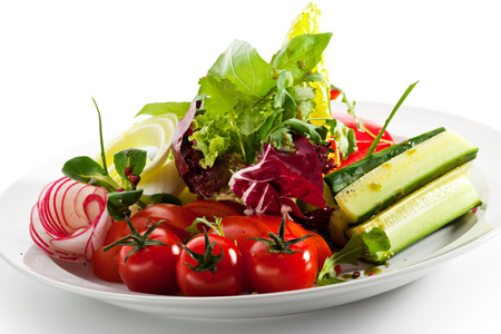 Fresh Vegetables Plate with Greens photo