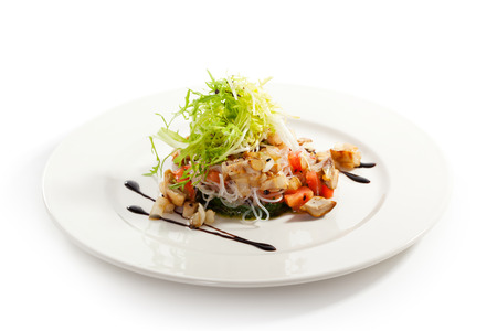 Salad with Rice Noodles, Mushrooms and Vegetables photo