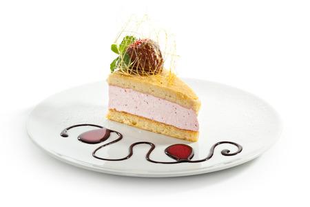 Strawberry Cake with Chocolate Sauce