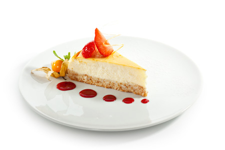 sour cherry: Dessert - Cheesecake with Berries Sauce and Green Mint