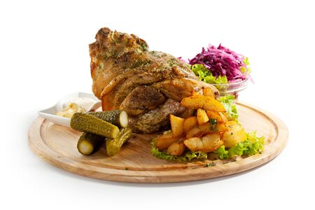 hock: Pork Hock with Pickled Vegetables and Potato Stock Photo