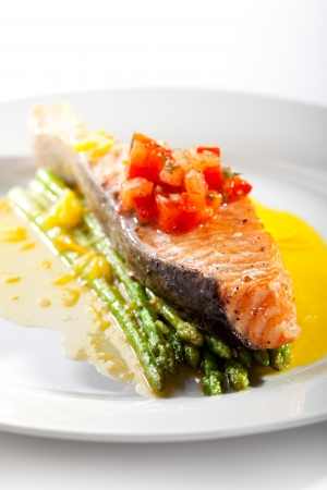 Salmon Steak with Asparagus and Lemon Sauce photo