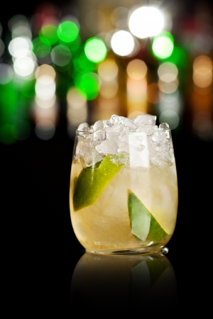 carbonated: Cocktail with Lime and Ice