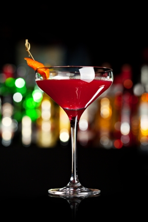 orange peel: Cosmopolitan - Alcoholic Cocktail made from Vodka, Cointreau, Lime Juice and Cranberry Juice