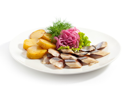 Salted Fish with  Roasted Potato and Pickled Onions photo