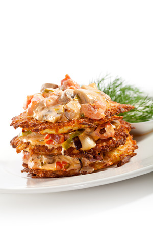 Potato Pancake with Tomatoes and Mushrooms photo