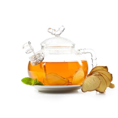 yellow tea pot: Tea with Ginger Root
