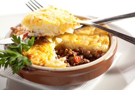 Cottage Pie with Mushrooms Sauce Stock Photo