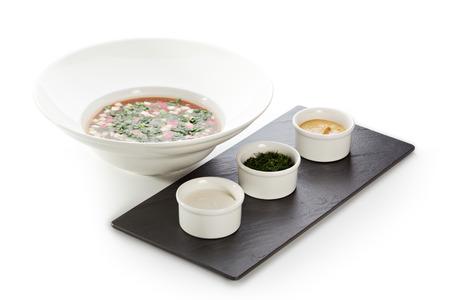 okroshka: Okroshka - Cold Soup with Vegetables Stock Photo
