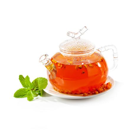 Sea buckthorns Tea with Fresh Mint Leaf photo