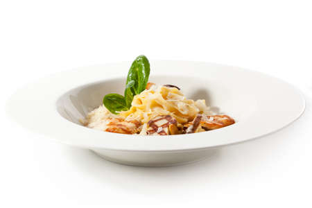 chicken fillet: Tagliatelle with Mushroom, Chicken Fillet and Cream Sauce Stock Photo