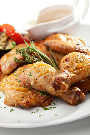 Grilled Chicken with Vegetables and Sauce photo