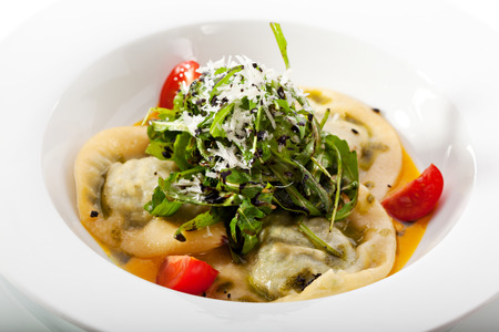 Ravioli with Cheese and Spinach and with Pumpkin Cream photo