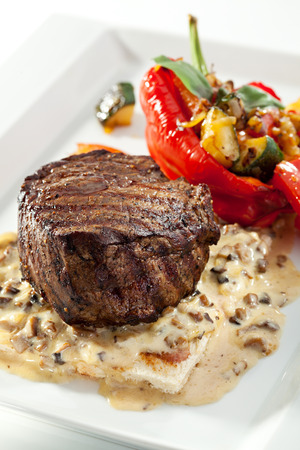 mignon: Beef Steak with Mushrooms Sauce and Roasted Vegetables