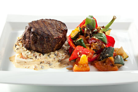 Beef Steak with Mushrooms Sauce and Roasted Vegetables photo
