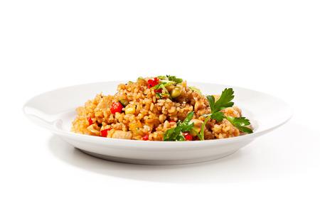 Cocina china - Arroz frito con verduras y carne Foto de archivo - 26680748
