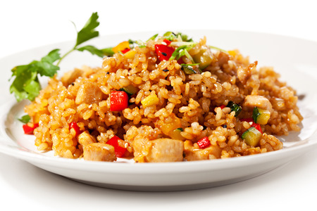 peas: Chinese Cuisine - Fried Rice with Vegetables and Meat
