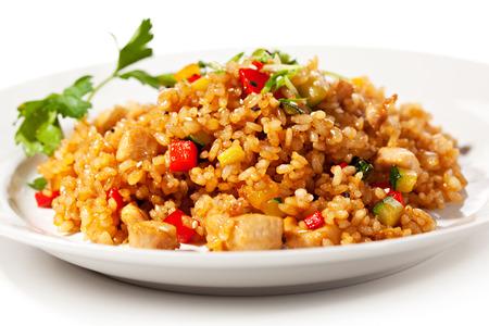 Chinese Cuisine - Gebratener Reis mit Gemüse und Fleisch