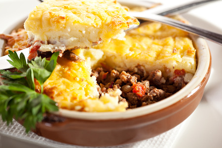 Cottage Pie with Mushrooms Sauce Stok Fotoğraf