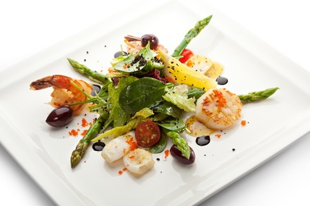 seafood dinner: Seafood Salad with Asparagus, Lemon and Salad Mix