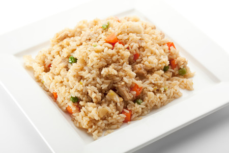 Rice with Chicken and Vegetables and Mushrooms Stock Photo