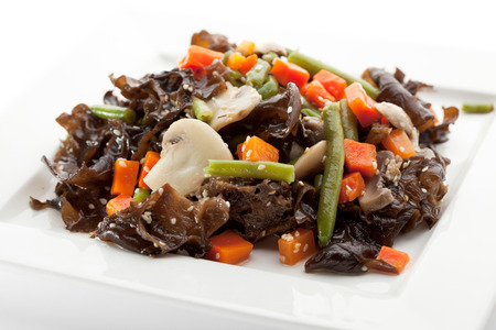 Chinese Cuisine - Salad with Seaweed, Mushrooms and Vegetables photo
