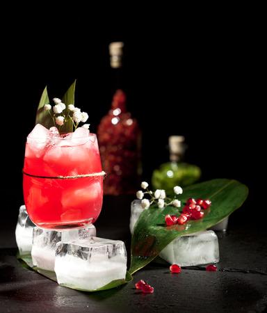 verm�: Vermut y Garnet Cocktail. Adornado con las flores Foto de archivo