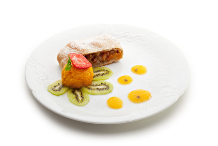 Apple Strudel Served with Fruits Ice Cream photo