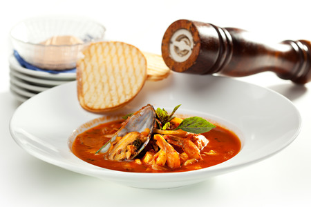 seafood soup: Seafood Soup with Bread and Basil