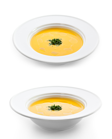 Cream of Cauliflower Soup with Green Herb photo